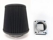 BLACK Filter For 95-97 01-03 B2300 2.3L L4 Mass Air Flow Sensor Intake Adapter