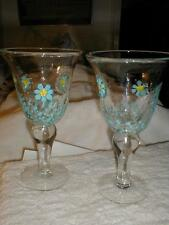 """S/2 GLOBAL AMICI """"Flower Fields Blue""""  Hand Made GLASS Goblets WINE Water~NEW"""