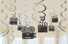 12 Hollywood movie Theme Hanging Swirl Movie Party Hanging Film Award Decoration