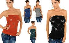 top donna fascia sottogiacca misto lana deco mouse strass elastico bustino