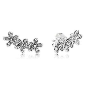 925 Genuine Pair of Daisy Flower Stud Earrings Sterling Silver Mothers Day+Pouch