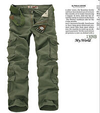 8 pockets Mens Cargo Trousers Loose Baggy Combat Pants Multi-pocketed Large size