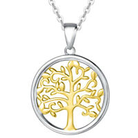 Diamond Tree of Life Necklace 14k Two Tone Gold Over Silver
