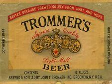 "Trommer'S Light Malt Beer Label 9"" x 12"" Sign"