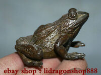 "2.2 ""Rare Vieux Chinois Bronze Animal commun étang grenouille Statue Sculpture"