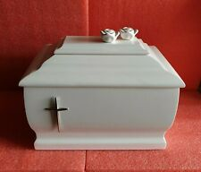 White Casket Solid Wood with Silver Cross and Roses  Ashes Urn (207c)A