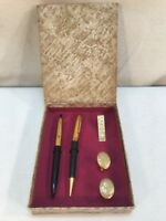 Vtg 50's USA Gold Tone Boxed Pen Pencil Cuff links Tie Clip Flower Design Set