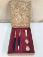 Vtg 50's USA Gold Tone Boxed Pen Pencil Cuff links Tie Clip Flower Design Set
