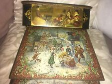 2 Vintage Biscuit Tins CWS Crumpsall Winter Scenes & 18th Century Images Tin