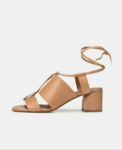 VINCE DUNAWAY Ankle Tie ROASTED CASHEW TAN Leather BLOCK Sandals US 10 $325 NWB