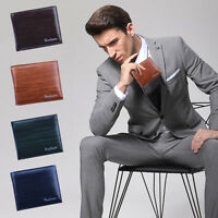 Fashion Men Business Leather Slim Wallet ID Credit Card Holder Money Clip Purse