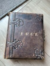 Antique leather bound Victorian photograph album no photographs empty excellent