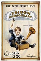 "Edison Phonograph Vintage Retro Metal Sign 8"" x 12"""