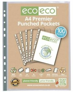 100 x eco-eco A4 100% Recycled Glass Clear Premier Punched Plastic Pockets