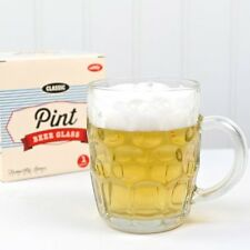 Gift Boxed Beer Pint Glass Tankard with Handle Dimpled Pub Drink Jar Traditional