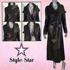 CHIC Black Leather Dress COAT Lambskin Big Collar Croc Embossed Long RARE M