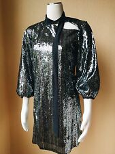 NWT C'N'C Costume National Silver Sequined Shift Tunic Dress Size 6/42