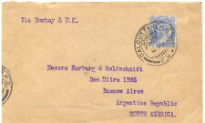 INDIA 1913 King Edward VII 2A 6P blue VFU cover via Bombay & UK to ARGENTINA, R!