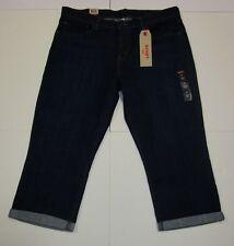 Nwt Womens Levis Dark Blue Denim Capri Mid Rise Easy Capri Pants Shorts 33