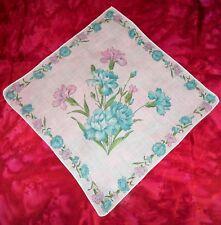 Vintage Handkerchief Hankie Carnations Sweet Williams Flowers