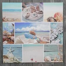 LED Bild Leinwand Maritim 50 x 50 Wandbild Strand Meer Collage Urlaub blau
