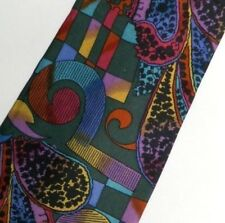 """Green Red Yellow Abstract Paisley KENZO Silk Tie 3.9"""" Wide 56"""" Long."""