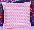 "Polka Dot Cushion Cover Ethnic Indian Handmade Pillow Case 16"" Decorative Decor"