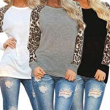 Fashion Women Blouse Patchwork Leopard Print Chiffon Casual Long Sleeve Tops New