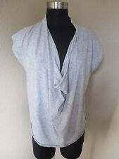 Free People Top Blouse Cowl Neck Short Sleeve Gray Size Small S