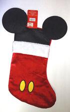 """NEW Disney MICKEY MOUSE Ears Christmas Stocking 18""""  Velveteen & Felt"""