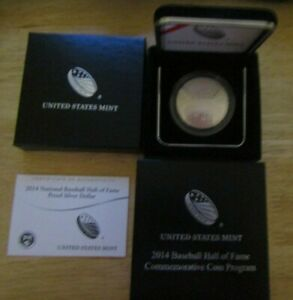2014 USM BASEBALL HALL OF FAME $5 GOLD $1 SILVER,HALF DOLLAR 3 COINS All Proof