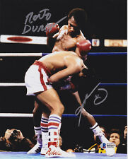 Sugar Ray Leonard Roberto Duran Dual Signed 8x10 Photo - Sug Punch Beckett BAS