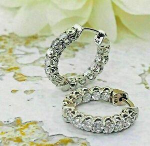 VVS1 White Round Cut Moissanite 2.25ct Huggie Hoop Earrings 925 Sterling Silver