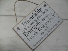 Friendship Best Special Friend Plaque  Gift Shabby Chic Sign About Peeing PANTS!