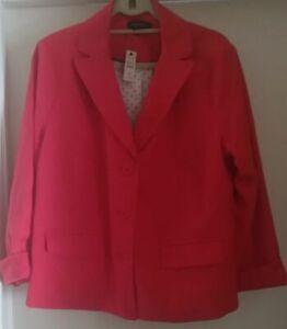 TALBOTS Blazer Jacket 100% cotton Pink Suit Coat Jacket lining Size16wp NEW $179