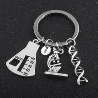Spiral Medical Microscope Triangle Bottle Keychain Necklace Pendant Set G
