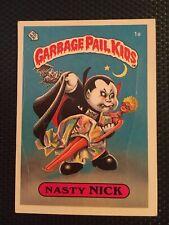 Rare! Original OS1 Garbage Pail Kids Nasty Nick 1a Matte Back W/ Die Cut Error!