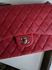 100% Auth CHANEL Burgundy CAVIAR JUMBO Classic Double Flap Bag Quilted Maxi