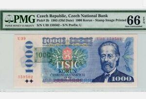 1985 CZECH Republic 1000 Korun PMG66 GEM UNC [P-3b]