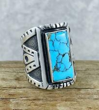 HUGE! Navajo Sterling Silver & OLD BlackWeb NUMBER EIGHT #8 Turquoise Ring Sz8.5