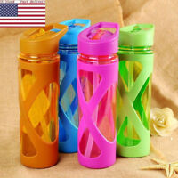 ed47739ea9 US Sports Water Bottle With Plastic Sleeve Eco-friendly Straw Drink Shaker  DS