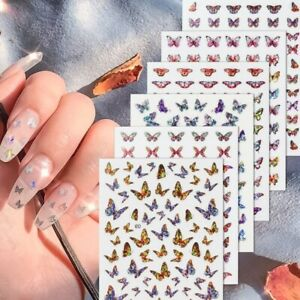 1pc Shiny 3D Butterfly Nail Art Stickers Adhesive Sliders Colorful DIY Golden