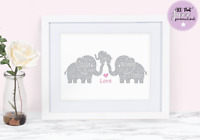 Personalised Word Art Elephant Family Daddy Mummy Son Daughter gift print card