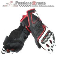 Guanti pelle Dainese Carbon D1 Long nero bianco rosso moto racing pista corsa