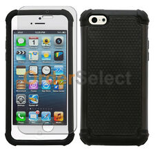 NEW Hybrid Rubber Hard Case+LCD HD Screen Protector for Apple iPhone 5 5C Black