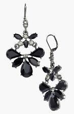 ANNE KLEIN Jet Black Faceted Stone Hematite Tone Chandelier Earrings