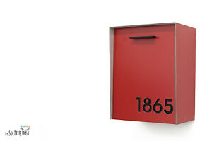 Modern Mailbox Red Aluminum Face and Body with Black Acrylic Numbers - Type 2