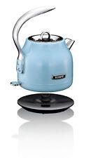 Schnurloser Retro Design Wasserkocher 1,2 Liter kabellos Edelstahl Khapp  Blau