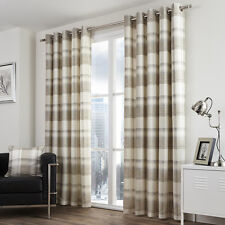 CHECK STRIPED RING TOP LINED PAIR EYELET CURTAINS GREY NATURAL OCHRE YELLOW