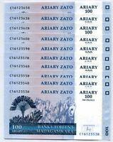 MADAGASCAR 100 ARIARY 2004 (2016) P 86 c UNC LOT 10 PCS